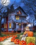 Spooky House Pumpkins Halloween Digital Panel AL38319C1, David Textiles