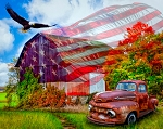 Land of Liberty AL38810C1 Truck Barn Eagle Digital Panel David Textiles