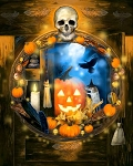 Halloween Cabinet AL40590C1 Digital 36 Inch Panel, David Textiles