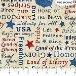 Stonehenge Stars and Stripes 8 B23461 12 Wide Backing Patriotic Words, Northcott
