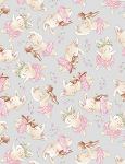 Bunnies by the Bay Flannel CF7245 Grey Tossed Bunny, Timeless Treasures