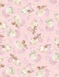 Bunnies by the Bay Flannel CF7245 Pink Tossed Bunny, Timeless Treasures