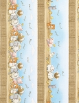 Bunnies Farm Flannel CF5826 Sky Border Stripe, Timeless Treasures
