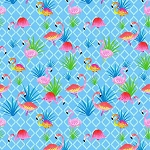 Colorful Flamingos C7446 Blue, Timeless Treasures