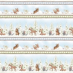 Snow Day C7552 Multi Winter Animal Stripe, Bunnies by the Bay Timeless Treasures