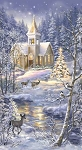 Church in Snow C7590 Multi Panel, Timeless Treasures