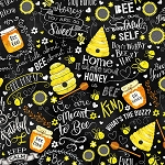 Whats the Buzz C7852 Black Bee Hives Timeless Treasures