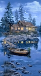 Lakeside Cabin C8041 Blue Panel Timeless Treasures
