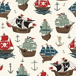 Pirates Tales C9680 Cream Pirates Ships, Riley Blake