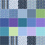 Catitude Singing the Blues Layer Cake Squares Benartex