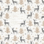 Snow is Falling Flannel CF7474 Cream Rustic Reindeer, Timeless Treasures