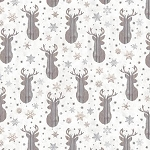 Snow is Falling Flannel CF7475 Cream Reindeer Heads, Timeless Treasures