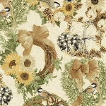 Country Harvest CM7692 Cream Sunflower Wreaths Metallic, Timeless Treasures