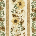Country Harvest CM7693 Cream Sunflower Stripe, Timeless Treasures
