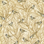 Country Harvest CM7694 Cream Chickadees Metallic, Timeless Treasures