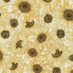 Country Harvest CM7695 Cream Sunflowers Metallic, Timeless Treasures