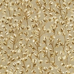 Country Harvest CM7698 Tan Cotton Blooms Metallic, Timeless Treasures