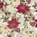 Noel CM7755 Cream Poinsettias on Text Metallic, Timeless Treasures