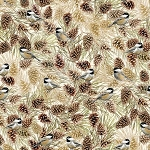 Noel CM7760 Cream Chickadees on Pinecones Metallic, Timeless Treasures