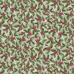 Noel CM7761 Green Holly Berries Metallic, Timeless Treasures