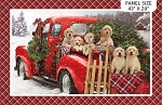 Santas Helper DP23537 24 Red Truck and Puppies Digital Panel, Northcott