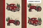 Vintage Christmas Digital DP23545 12 Vintage Tractors Placemat Panel, Northcott