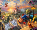 Disney Dreams DS20139C1 Falling in Love Digital Panel Thomas Kincaid David Textiles
