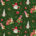 Gnome for Christmas FLANNEL F10610 Green Tossed Gnomes Riley Blake