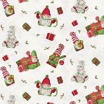 Gnome for Christmas FLANNEL F10610 Parch Tossed Gnomes Riley Blake