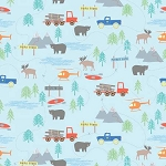 Forest Scene Flannel F7798 Blue, Riley Blake