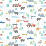 Forest Scene Flannel F7798 White, Riley Blake