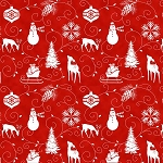 Winter Frost Flannel F9226 88 Red Graphic Motif, Henry Glass