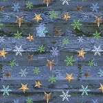 Pine Cone Lodge Flannel F9253 77 Blue Stars on Woodgrain, Henry Glass