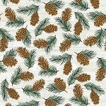 Pine Cone Lodge Flannel F9254 43 Beige Pinecones Flannel, Henry Glass