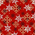 Gnomies Flannel F9268 88 Red Snowflakes, Henry Glass