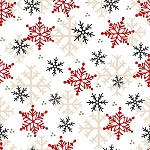 Gnomies Flannel F9268 89 White Snowflakes, Henry Glass