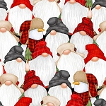 Gnomies Flannel F9271 89 Stacked Gnomes Snowmen, Henry Glass