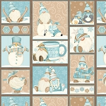 I Love Snow Gnomies Flannel F9635 13 Aqua Patchwork Henry Glass