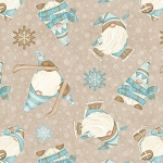 I Love Snow Gnomies Flannel F9641 33 Beige Skiing Gnomes Henry Glass