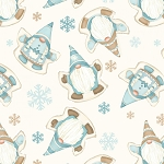 I Love Snow Gnomies Flannel F9643 44 Cream Gnome Snow Angles Henry Glass