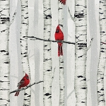 Woodsy Winter L7325 483S Silver Metallic Birch Cardinal, Hoffman