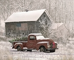 Christmas Memories 8690 Digital Panel Barn Truck, Riley Blake