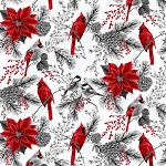 Holiday Decadence S7700 176S Ice Silver Birds Floral Border, Hoffman