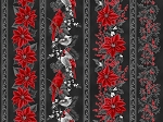 Holiday Decadence S7701 213S Onyx Silver Birds Floral Border, Hoffman