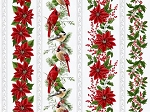 Holiday Decadence S7701 521S Mist Silver Birds Floral Border, Hoffman