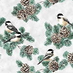 First Snowfall S7712 307S Snow Silver Birds Pinecones Metallic, Hoffman