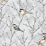 First Snowfall S7713 674S Grey Silver Birds Branches Metallic, Hoffman