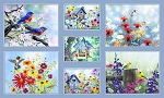 Song Birds 4320 Digital Panel P and B Textiles