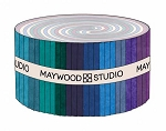 Shadowplay Flannel Strips Oceanic Colors, Maywood Studio
