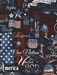 Timeless Treasures C5280 Navy Patriotic Words